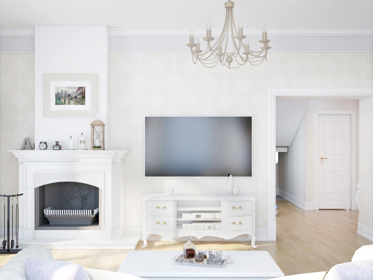 фото интерьера, вид на камин и телевизор